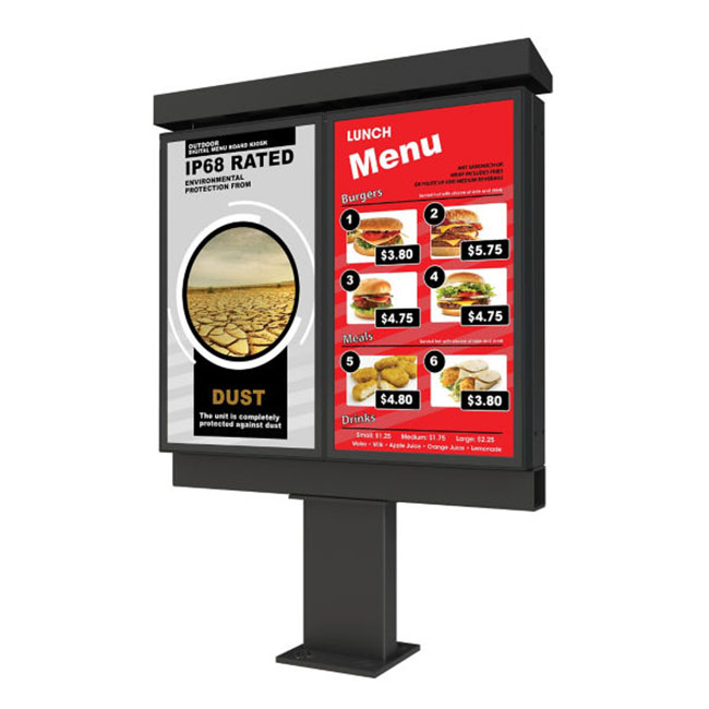 Technology - Kiosks - Xtreme™ Outdoor Double Digital Menu Board Kiosk