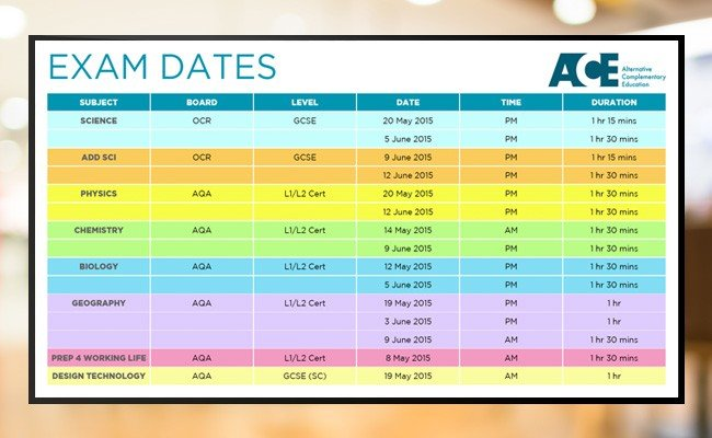Digital signage education screen displaying Exam Dates Table message from ACE Schools