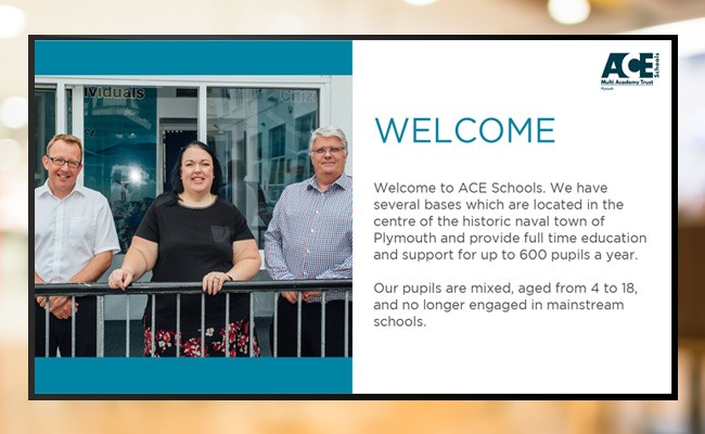 Digital signage education screen displaying Welcome message from ACE Schools