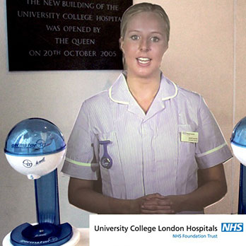 Holographic mannequin with hand hygiene gel pumps at University College London Hospitals NHS Foundation Trust