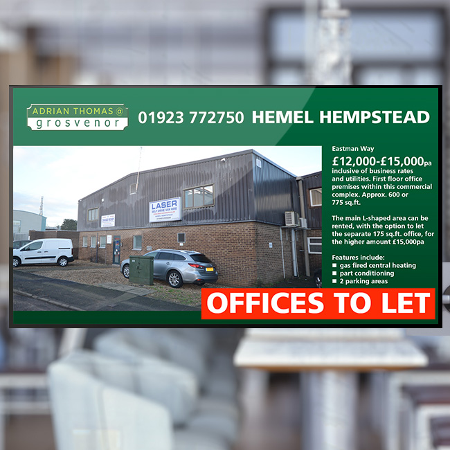 Digital signage retail window screen for Grosvenor Estate Agents displaying offices to let in Hemel Hempstead