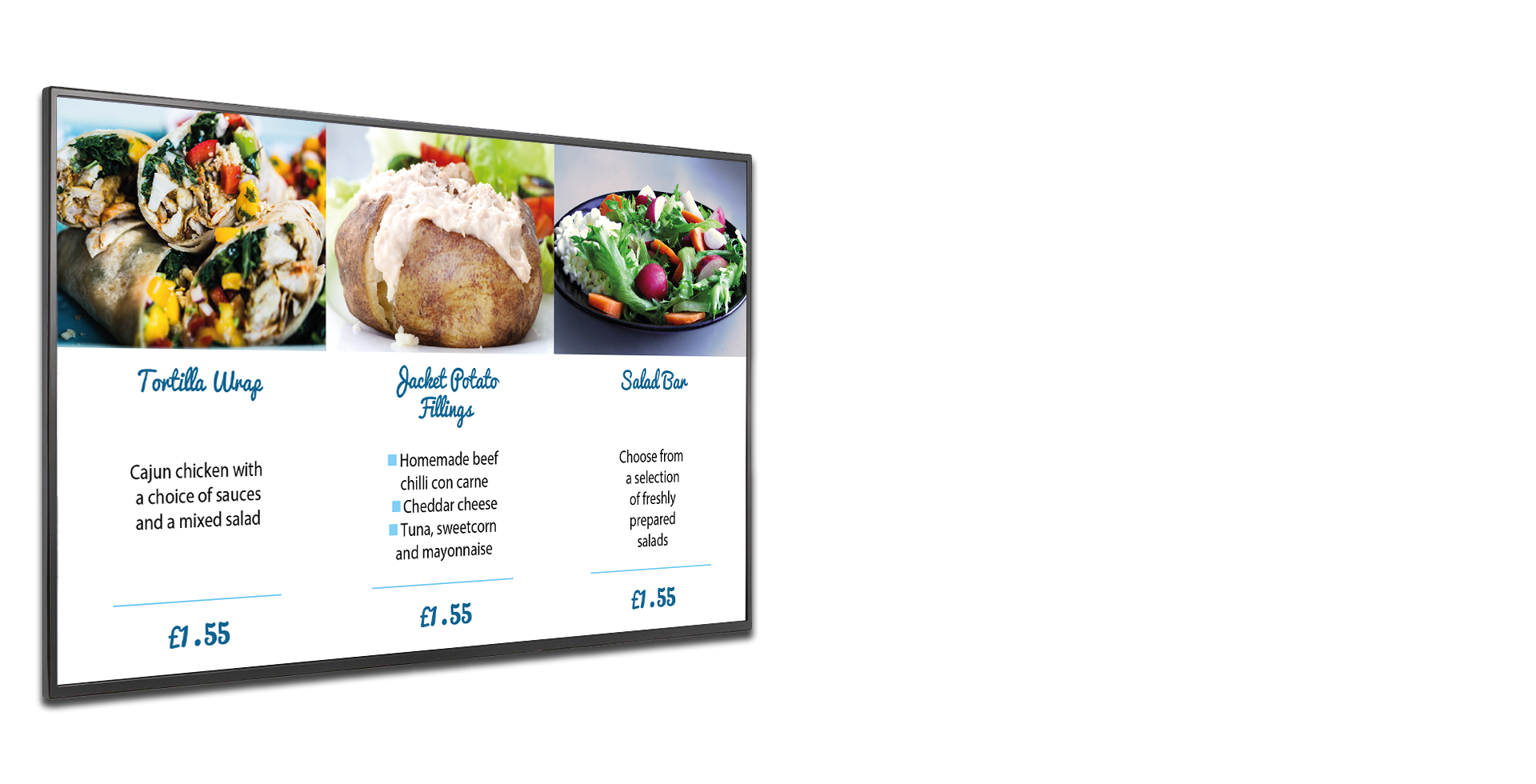 Streetly School digital signage menu board