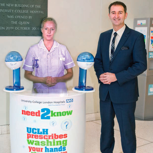 The holographic mannequin virtual nurse at University College Hospital in London with Trevor Payne, Director of Estates and Facilities, University College London Hospitals NHS Foundation Trust