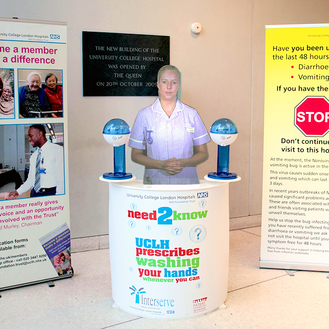 The holographic mannequin virtual nurse at University College Hospital in London with Germstar hand hygiene pumps