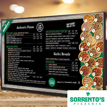 Sorrento's Pizzeria digital signage menu board showing pizza and garlic bread options
