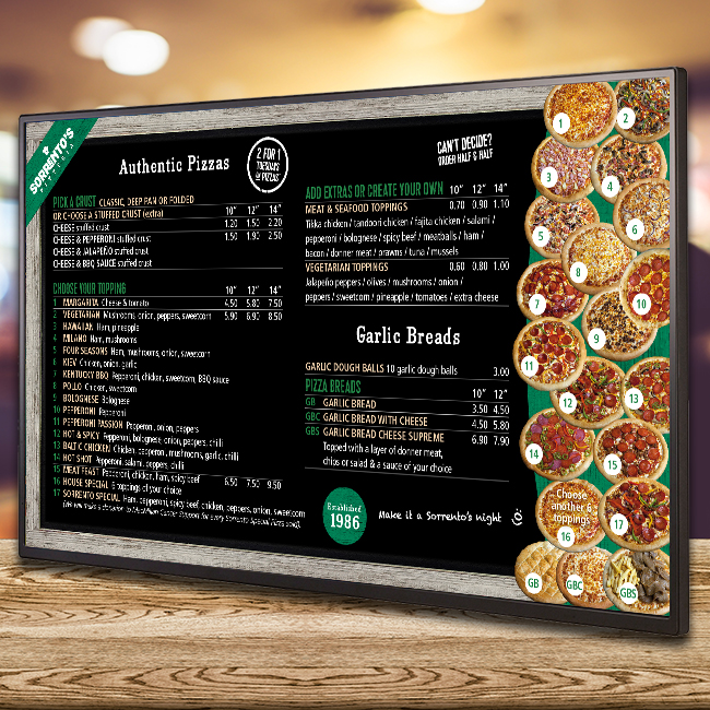 Digital signage menu board screen for Sorrento's Pizzeria in the UK