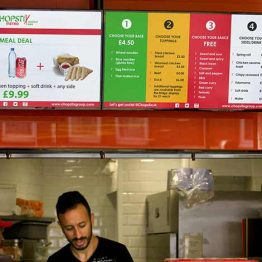 Chopstix Restaurants digital signage menu boards in London
