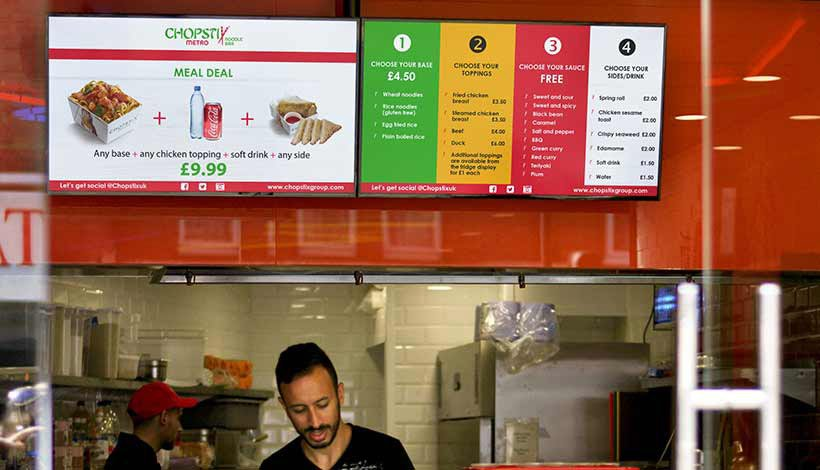 System on Chip Digital Signage Solution Menu Boards for Chopstix Restaurants