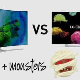 QLED TV screen vs LG OLED Tv Screen plus monsters