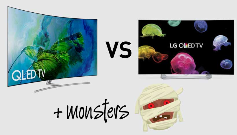 QLED TV screen versus LG OLED Tv Screen plus monsters