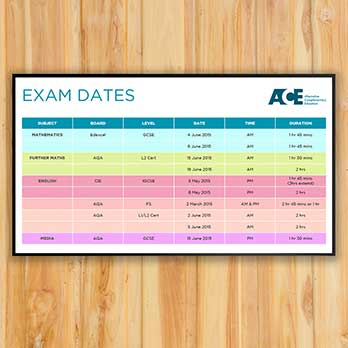 Digital signage screen for ACE school showing an exam dates messages on a wooden panelled wall