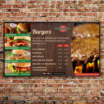 Burger menu board on a brick background for Sorrentos Pizzeria