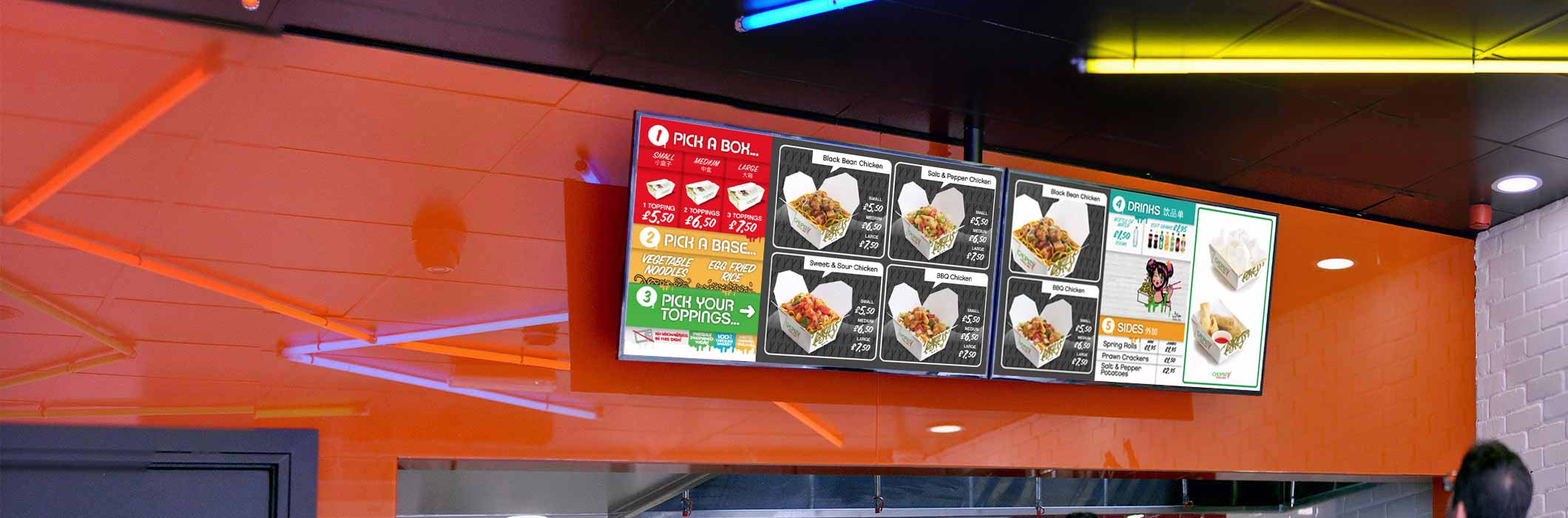 Two digital signage screens at Chopstix restaurant displaying their menu