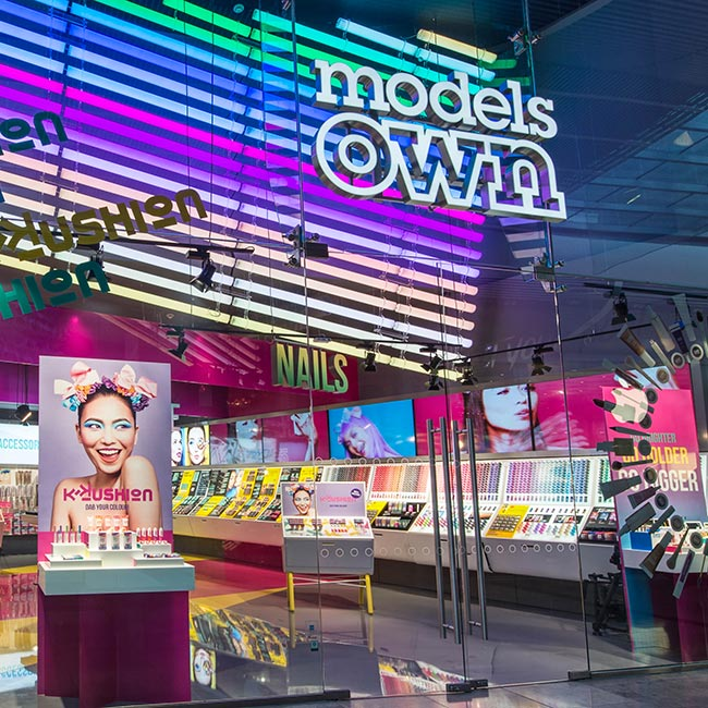 Models Own flagship store in Westfield Stratford City with five screen video wall digital signage installation