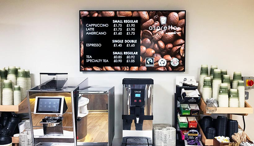 Photo of Aspretto Coffee Menu Board Digital Signage at Santander Offices