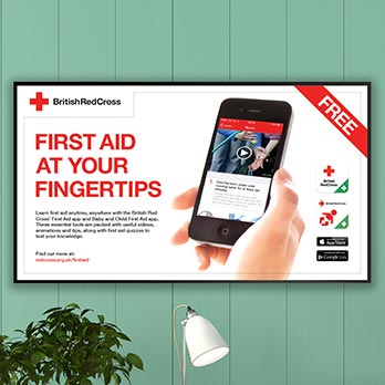 Digital signage display for Corporate Communications sector with British Red Cross message on screen